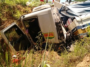 Carreta saiu da pista e caiu em uma ribanceira na BR-262 (Foto: PRF/Divulgação)