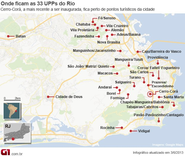Mapa UPP Cerro Corá (Foto: Editoria de Arte/G1)