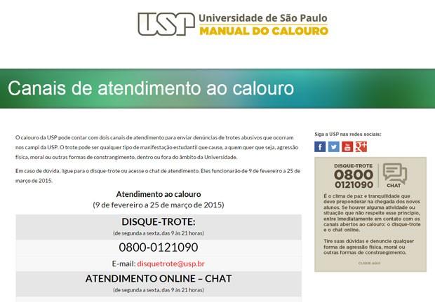 Site da USP dá orientações sobre como denunciar trotes abusivos (Foto: Reprodução/USP)