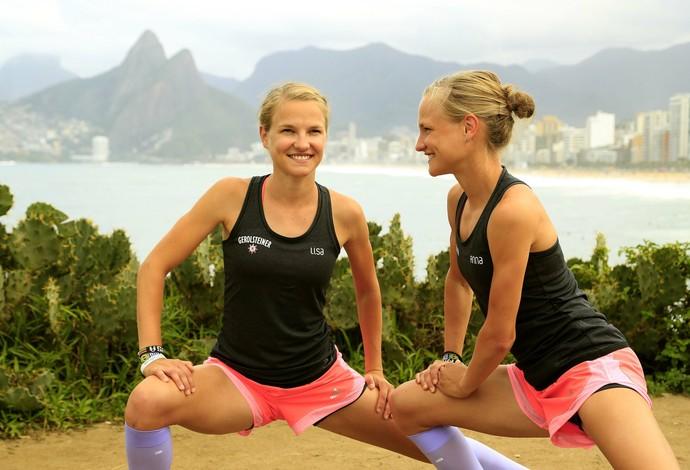 Anna e Lisa são as gêmeas mais rápidas da Alemanha nas maratonas (Foto: Marcelo de Jesus)