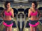 Ex-BBB Adriana exibe barriga sequinha em foto 'selfie' na academia