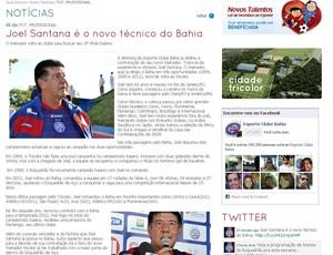 Site do Bahia confirma acerto com Joel Santana (Foto: Reprodução)