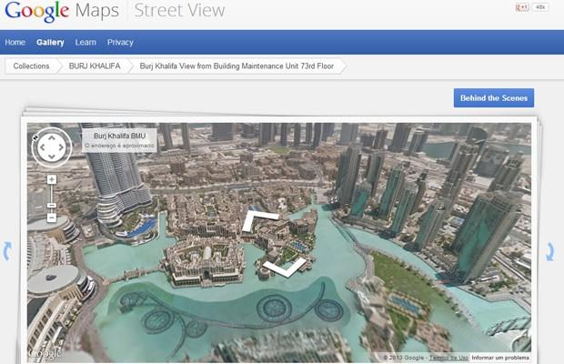 Imagem da cidade de Dubai, nos Emirados Árabes, vista a partir do 73º andar, a partir da perspectiva de um limpador de vidros. (Foto: Reprodução/Google.com)