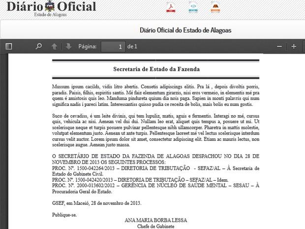 Texto remete à linguagem do personagem 'Trapalhão' Mussum.  (Foto: Reprodução/Diário Oficial do Estado de Alagoas)