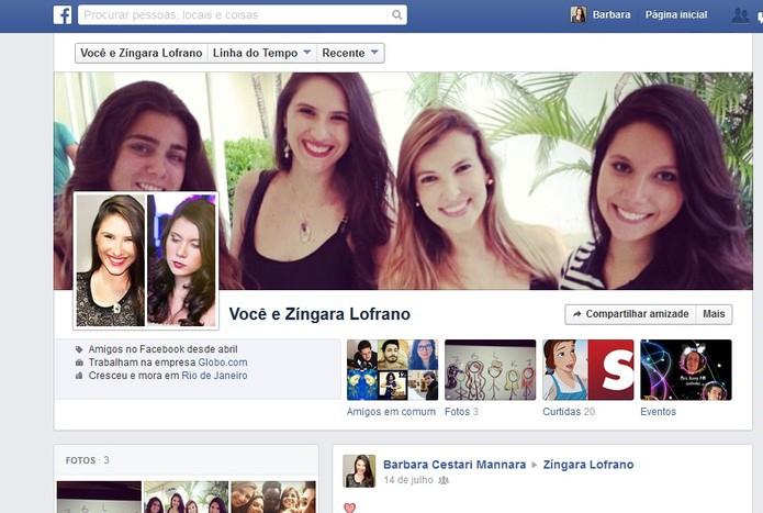 A página de amizade mostra os amigos em comum, fotos, postagens e muito mais no Facebook (Foto: Reprodução/Barbara Mannara)