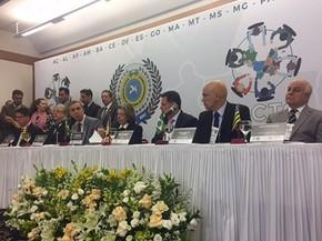 Presidente do STF, ministra Cármen Lúcia, e o ministro da Justiça, Alexandre de Moraes, durante evento em Goiânia, Goiás (Foto: Murillo Velasco/G1)