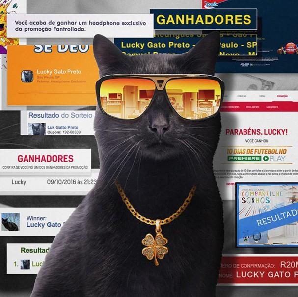 Lucky Gato Preto e as manchetes anunciando suas vitórias! (Foto: Divulgação)