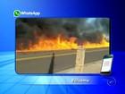 Vídeo mostra rastro de chamas após caminhão-tanque pegar fogo