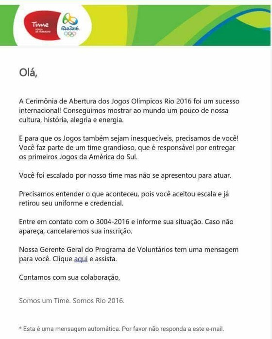 Reprodução de email enviado pela organização da Rio 2016 a voluntários que não se apresentaram (Foto: Reprodução)