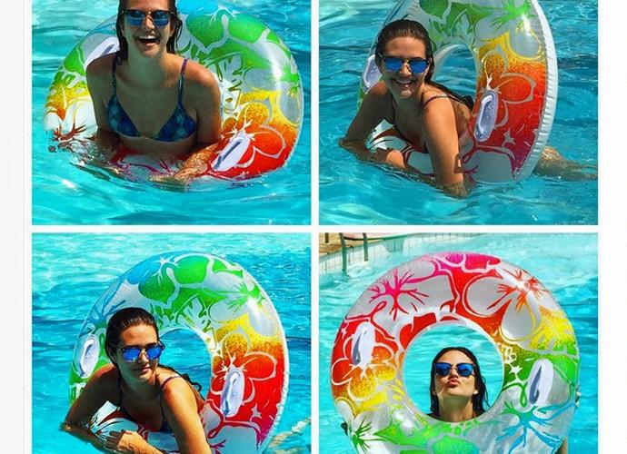 Quando tem tempo, a atriz se joga na piscina! (Foto: Arquivo Pessoal)