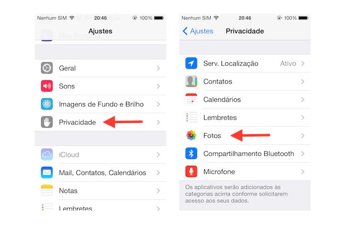 Acessando as configurações de privacidade do iOS (Foto: Reprodução/Marvin Costa)