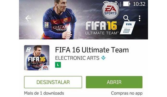 Instale Fifa 16 Ultimate Team no celular ou tablet (Foto: Reprodução/Murilo Molina)