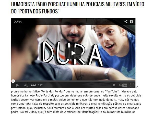 Blog faz severas críticas a vídeo do Porta dos Fundos (Foto: Reprodução / Blog do Soldado)