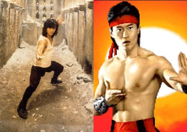 Cena de Liu Kang no filme, intepretado por Robin Shou, e no jogo 'Mortal Kombat II' (Foto: Divulgação/IMBD/Netherrealm)