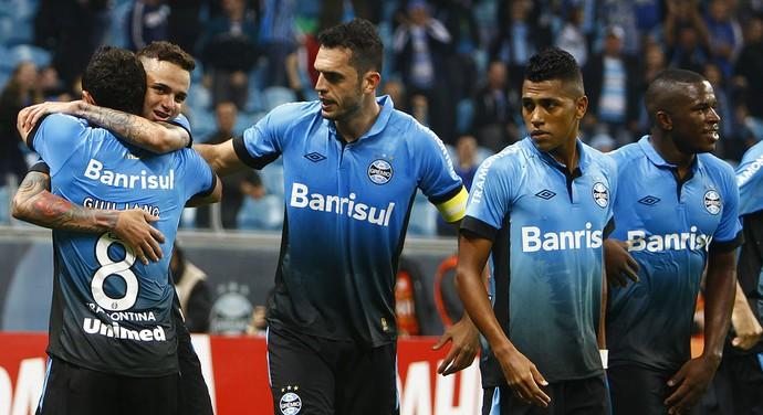 b638b3d55a292 Jogadores do Grêmio comemoram contra o Corinthians (Foto  Lucas Uebel    Grêmio