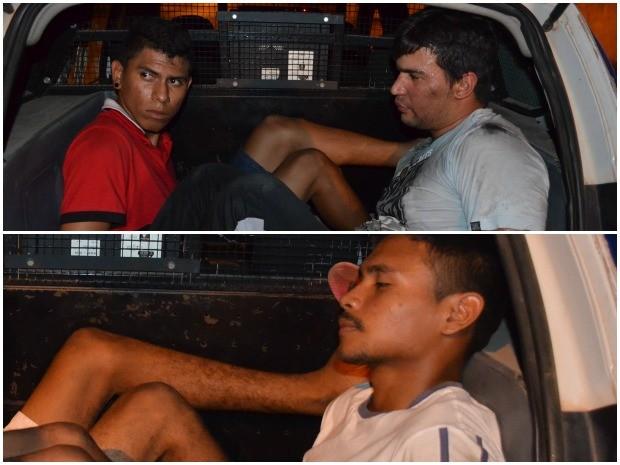 Suspeitos foram presos e levados para a delegacia (Foto: Marcelo Marques/ G1)