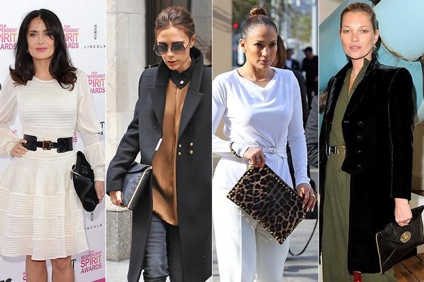 Maxi Clutch - Salma Hayek, Victoria Beckham, Jennifer Lopez e Kate Moss (Foto: Getty Images)