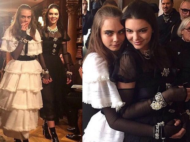 Cara Delevigne e Kendall Kardashian - desfile da Chanel na Áustria (Foto: Reprodução Instagram)