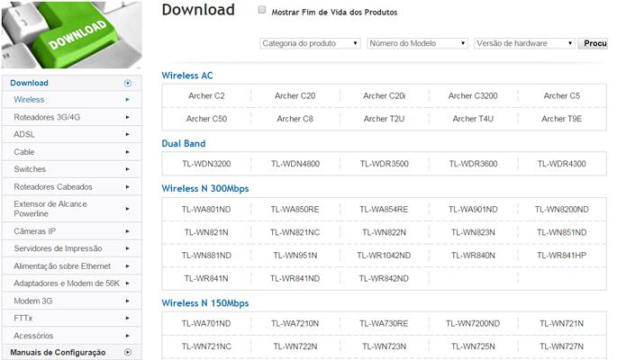 Site da TP-Link tem área de Downloads que oferece firmwares dos seus produtos (Foto: Reprodução/Filipe Garrett)