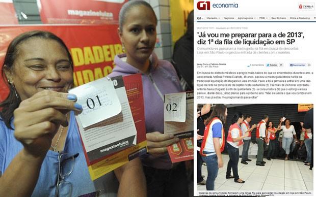 Antônia Pereira Evaristo mostra a senha de primeira da fila; ao lado, a reportagem do G1 em 2012, quando ela também entrou primeiro na megaliquidação (Foto: Flávio Moraes/G1)