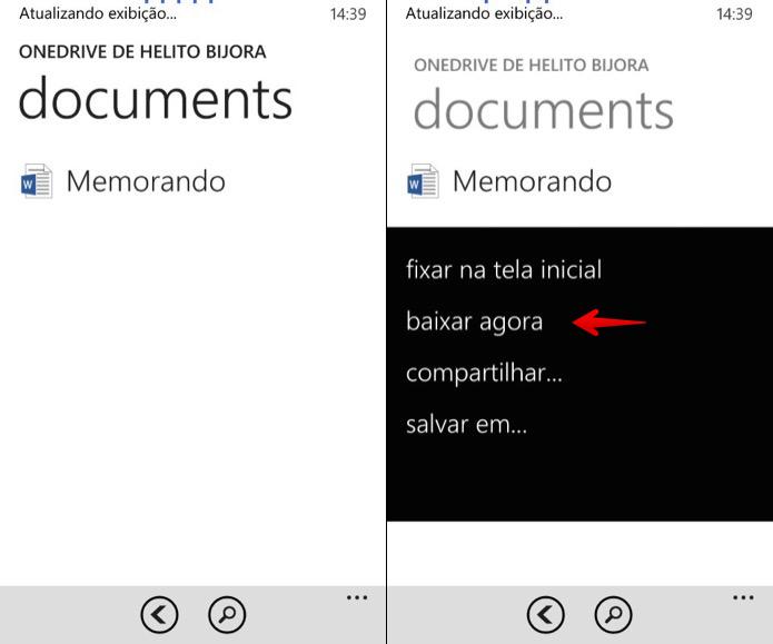 Localize o arquivo que deseja baixar e toque sobre ele (Foto: Reprodução/Helito Bijora)