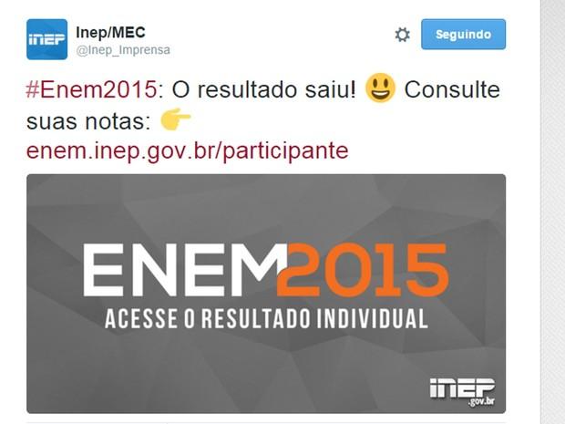 Inep anunciou no Twitter a divulgação das notas do Enem 2015 (Foto: Reprodução/Twitter)