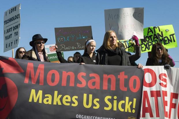Ativistas protestam contra a produção de herbicidas e organismos geneticamente modificados em frente à sede da Monsanto em Creve Coeur, no estado do Missouri, nos Estados Unidos (Foto: Reuters/Kate Munsch/Files)