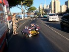 Óleo na Curva do Saldanha causa acidente com cinco motociclistas