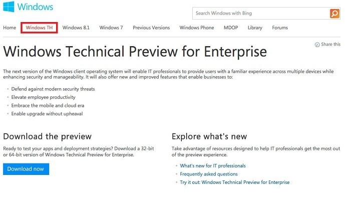 Nome Windows TH tinha sido vazado no mesmo site da Microsoft (Foto: Reprodução/The Verge)