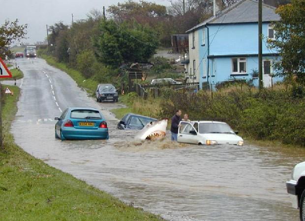 Falsa foto mostraria tubarão em rodovia alagada no estado do Missouri (Foto: Reprodução/Facebook/Bill Tennison)