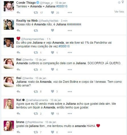 Comentários no twitter comparando Amanda Djehdian, ex-bbb, e Juliana Dias, atual BBB (Foto: Reprodução / Twitter)