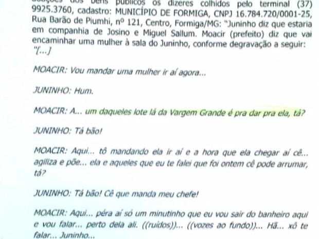 Trecho de conversa no qual o prefeito Moacir Ribeiro aparece falando sobre terreno (Foto: TV Integração/Reprodução)