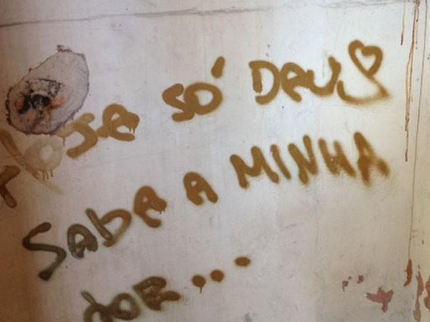 Paredes pichadas por Renato em banheiro do trabalho da mãe  (Foto: Lívia Machado/G1)