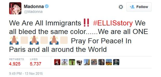 Madonna lamenta ataques em Paris (Foto: Reprodução/Twitter)