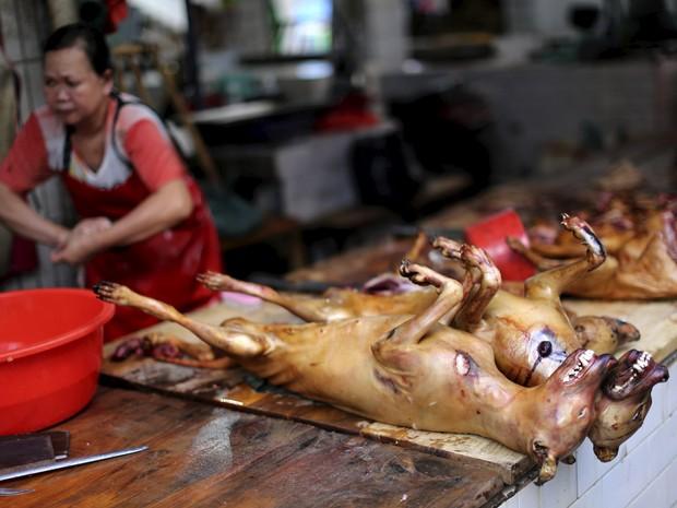 Cachorros mortos são expostos em festival chinês neste sábado (20) (Foto: Reuters/Kim Kyung-Hoon)
