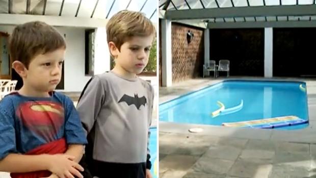 Montagem guris piscina (Foto: Reprodução/RBS TV)