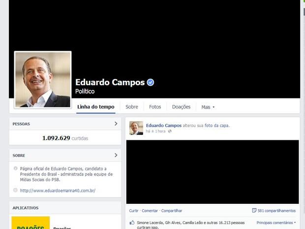 Perfil de Eduardo Campos no Facebook (foto) coloca foto de capa na cor preta em luto pela morte do candidato à presidência (Foto: Reprodução/Facebook)