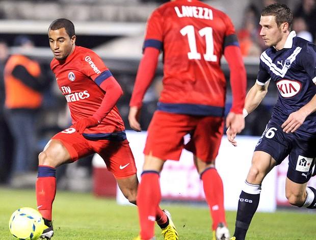 Lucas na partida do PSG contra o Bordeaux (Foto: AFP)