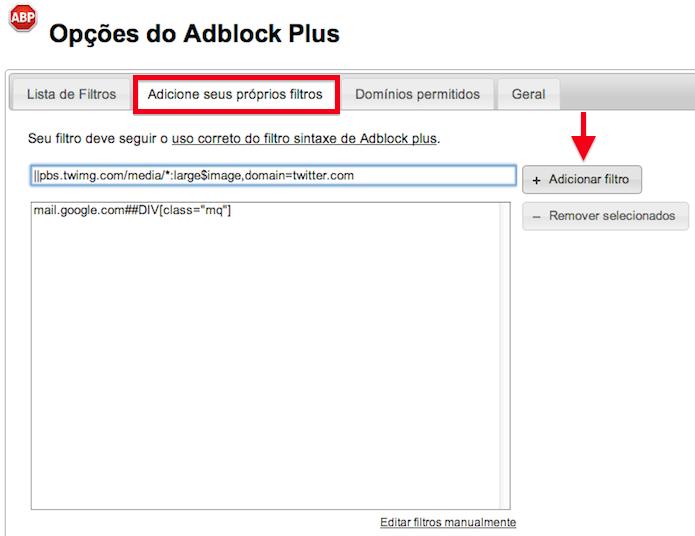 Configurando filtro de fotos e vídeos do Twitter no Chrome (Foto: Reprodução/Helito Bijora)
