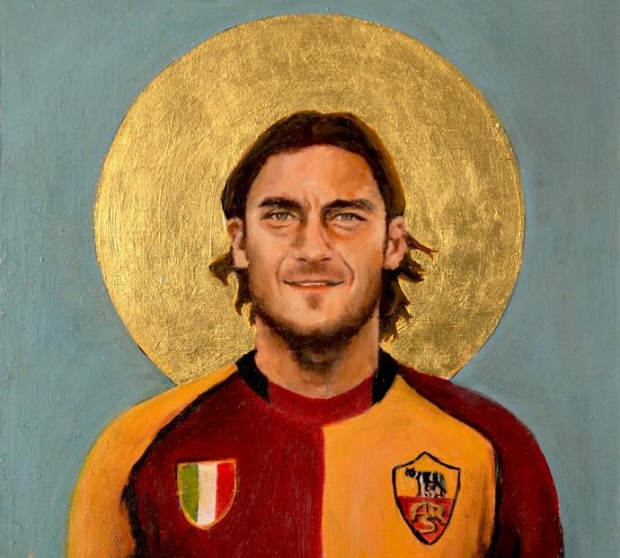 """Totti representado como santo na série """"Football Icon"""", de David Diehl, de 2014 (Foto: Reprodução)"""