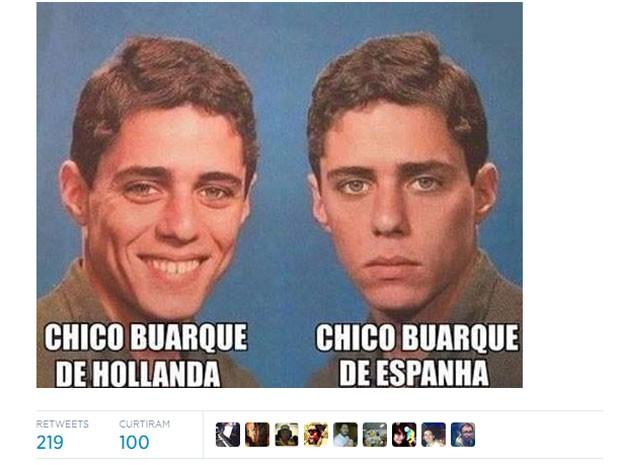 Chico Buarque participa de brincadeira na Copa (Foto: Reprodução/Twitter)