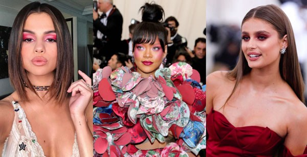 Selena Gomez, Rihanna e Taylor Hill no MET 2017 (Foto: Getty Images)