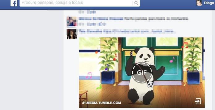 Facebook está rodando GIFs no feed de notícias; veja como funciona (Foto: Reprodução/Diego Borges)