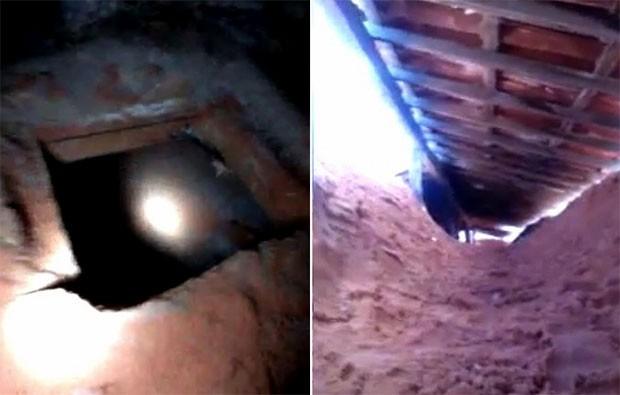 Túnel foi escavado no piso de uma das celas do Pavilhão 1 de Alcaçuz; areia retirada do buraco foi escondida no telhado da unidade (Foto: Divulgação/Coape)