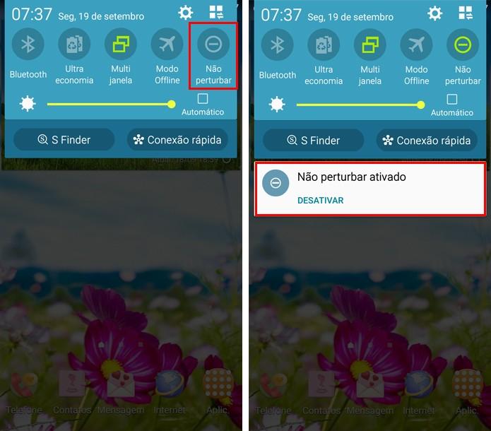 Ative o modo Não Perturbe na barra de notificações (Foto: Reprodução/Aline Batista)