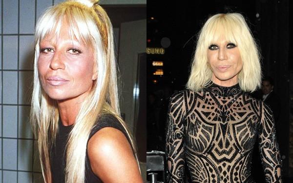 Donatella Versace em 1993 e em 2016 (Foto: Reprodução / Getty Images)