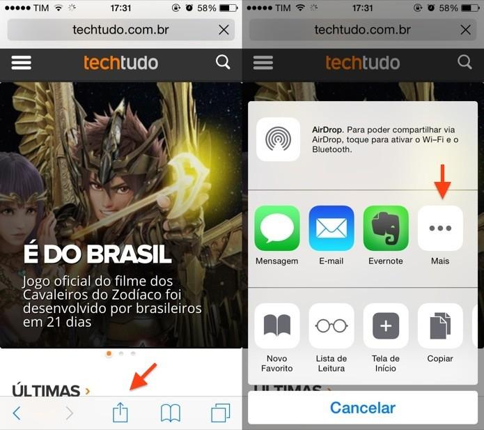 Acesse o menu de compartilhamento do Safari (Foto: Reprodução/Helito Bijora)