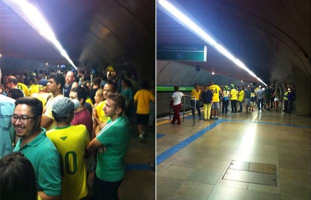A estação Consolação do metrô, na Avenida Paulista, no dia 15 de março (à esq.) e neste domingo, 12 de abril, em fotos feitas no mesmo horário (Foto: Thais Lazzeri/ÉPOCA)