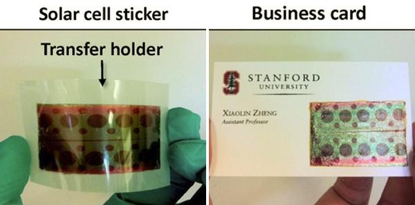 Imagem mostra painel solar em formato de filme e aplicação em cartão de visitas (Foto: Divulgação/Universidade Stanford)