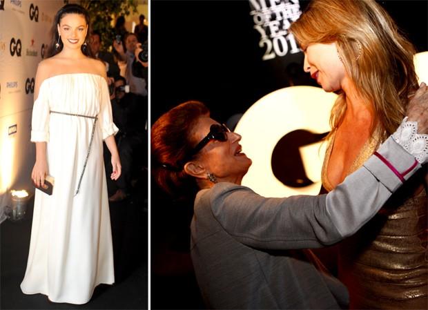 O look de Isis Valverde, eleita a Mulher do Ano; à direita, Costanza Pascolato cumprimenta Luana Piovana em sua chegada à premiação (Foto: Leo Lemos/GQ)